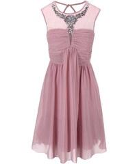 Růžové šaty s ozdobným dekoltem Little Mistress