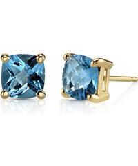 Eppi Zlaté náušnice s modrými topazy Donal