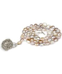 JwL Jewellery Dlouhý náhrdelník z růžových perel s přívěskem koule JL0043