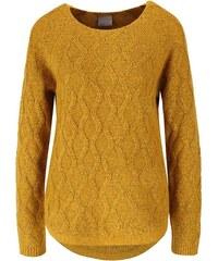 Hořčicový svetr s jemným vzorem Vero Moda Raven