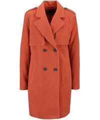 Oranžový vlněný kabát na dvouřadé zapínání VILA Maja