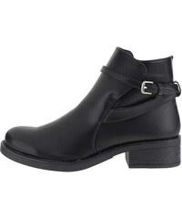 Černé kotníkové boty se zipem a přezkou Pieces Daniella