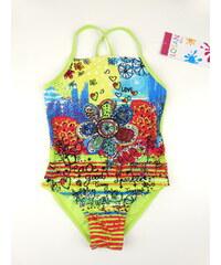Dětské plavky - jednodílné Fucsia - zelené, LOSAN