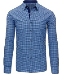 Elegantní tmavě modrá pánská košile kostičkovaná