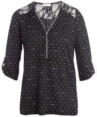 Blouse bi-matière dentelle dos Noir Polyester - Femme Taille 2 - Cache Cache