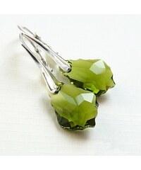 Šperky LAFIRA Style Náušnice elegantní zelené Swarovski Baroque-stříbro LSW023E