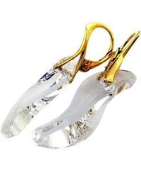Šperky LAFIRA Style Pozlacené stříbrné náušnice Swarovski Wave Crystal 660