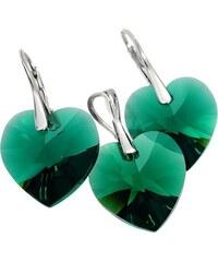 Šperky LAFIRA Style Stříbrná sada srdce Swarovski Elements Emerald 728