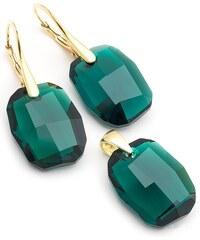 Šperky LAFIRA Style Pozlacená stříbrná sada Graphic Emerald Swarovski Elements 797