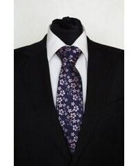 Šperky LAFIRA Style Pánská modrá klasická kravata s kytičkami 922