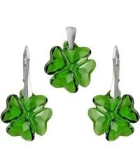 Šperky LAFIRA Style Stříbrná sada Clover Moss Green Swarovski Elements 994