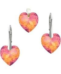 Šperky LAFIRA Style Stříbrná sada srdce Astral Pink Swarovski Elements 996