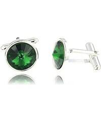 Šperky LAFIRA Style Manžetové knoflíky Rivoli Green Swarovski Elements 1034