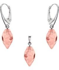 Šperky LAFIRA Style Stříbrná souprava Twisted Drop Rose Swarovski Elements 1038