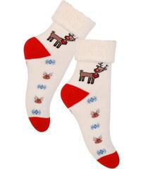 STEVEN Dětské ponožky se sobem -bílo-červené