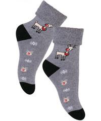 STEVEN Dětské ponožky se sobem - šedé