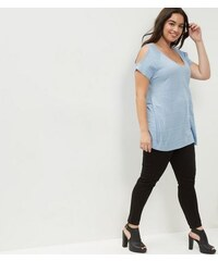 New Look Curves – Zartblaues, schulterfreies und meliertes T-Shirt