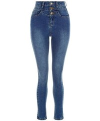 New Look Teenager - Skinny-Jeans mit hoher Taille, blau
