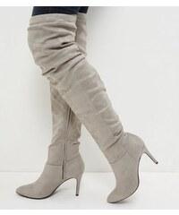New Look Graue, spitze Overknee-Stiefel aus Wildlederimitat mit Raffung