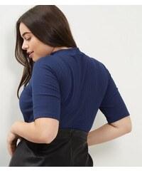 New Look Curves – Marineblaues, geripptes Top mit Stehkragen