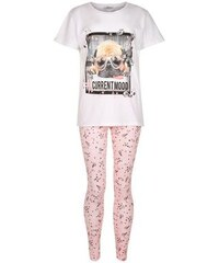 New Look Teenager – Rosa Pyjama-Set mit Mops-Print