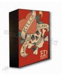 47x37cm Lampička Ed Hardy Lebka červená