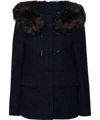 Tmavě modrá vlněná bunda s kapucí a umělým kožíškem ONLY Yatta