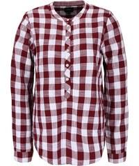 Vínová kostkovaná košile bez límečku ONLY Casey