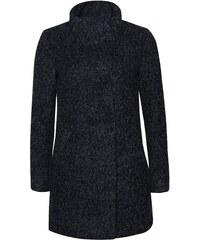 Tmavě šedý žíhaný dvouřadý kabát s vysokým límcem ONLY New Sophia