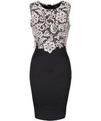 Černé přiléhavé šaty s krémovou krajkou AX Paris
