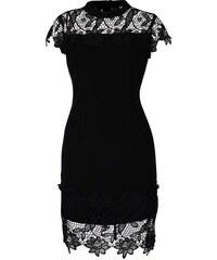 Černé šaty zdobené krajkou AX Paris