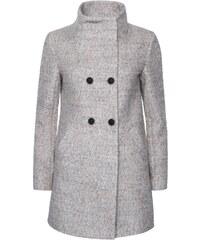 Béžový žíhaný dvouřadý kabát s vysokým límcem ONLY New Sophia