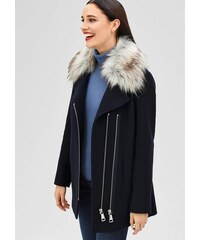Damen BLACK LABEL Wolljacke mit Fake Fur-Kapuze S.OLIVER BLACK LABEL blau L (44),L (46),M (40),M (42),S (36),S (38)