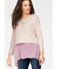 Damen 2-in-1-Pullover Chiffon am Saum Fransengarn mit Pailletten Vivance Collection rosa 34,36,38,40,42,44,46