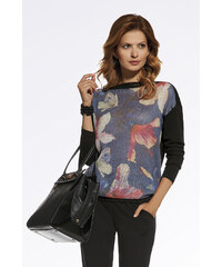 Enny Černý květovaný pulovr 220023