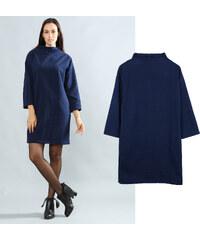 Lesara Unifarbenes Kleid mit Stehkragen - S