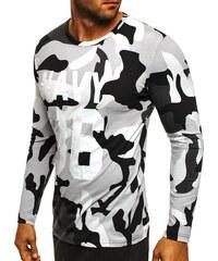 Athletic Černobílé army tričko s dlouhým rukávem