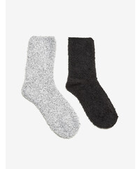 chaussettes mi-hautes noires et grises Jennyfer