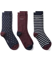 GANT Lot De 3 paires De Chaussettes à Rayures, Unies Et à Pois - Marine