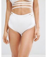 ASOS - Bas de bikini en néoprène à bandes élastiques - Blanc