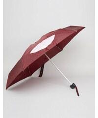 Lulu Guinness - Kleiner Regenschirm mit abstraktem Lippenmuster - Rot