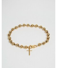Mister - Goldenes Perlen-Armband mit Kreuz - Gold