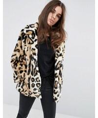 ASOS - Manteau trapèze en fausse fourrure imprimé léopard - Multi