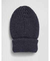 Hat Attack - Bonnet avec bordure à grosses cotes - Bleu marine