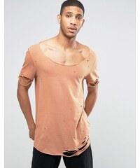 ASOS - T-shirt super long ultra vieilli déchiré avec encolure dégagée - Fauve - Fauve