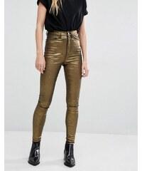 Waven - Anika - Skinny-Jeans mit hohem Bund und Metallic-Beschichtung - Gold