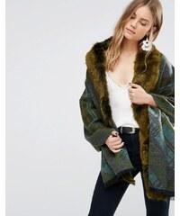 Jayley - Manteau oversize à carreaux avec bordure en fausse fourrure - Vert - Vert