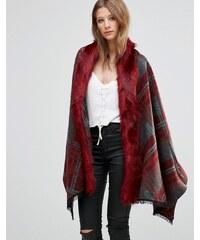 Jayley - Manteau oversize à carreaux avec bordure en fausse fourrure - Rouge - Rouge