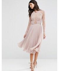ASOS WEDDING - Jolie robe mi-longue plissée en dentelle frangée - Beige