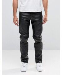 Weekday - Sharp - Leder-Jeans - Schwarz